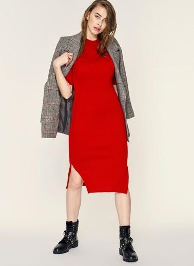 Loves You Kısa Kollu Triko Elbise Kırmızı